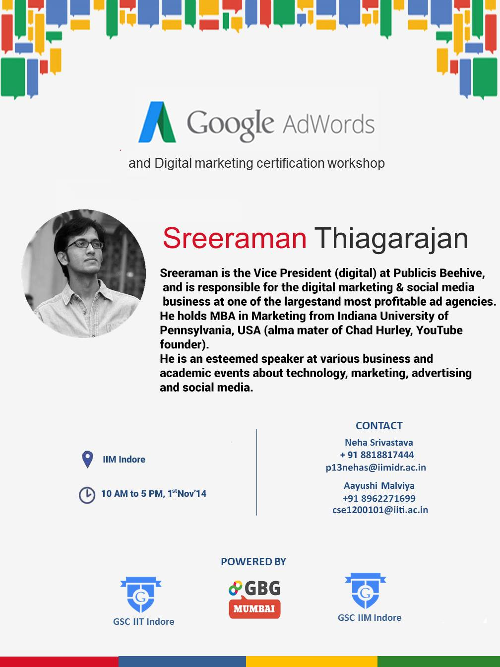 AdWords Workshop conducted by Sreeraman, Chapter Manager of GBG Mumbai